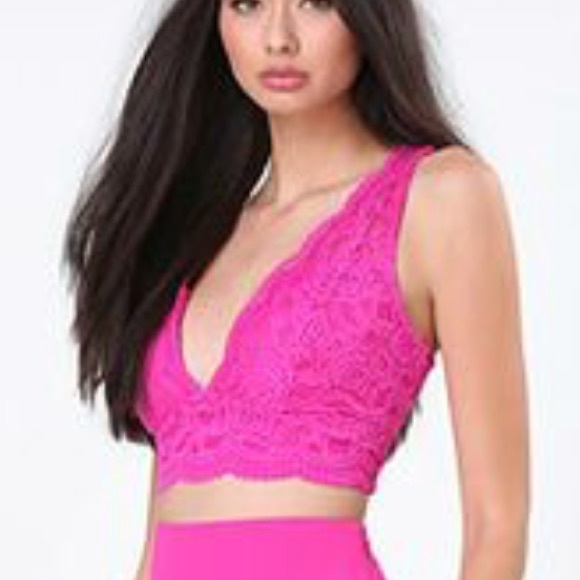 d56329eb8e182 New Barbie Hot Pink BEBE Lace Crop Top Bralette XS